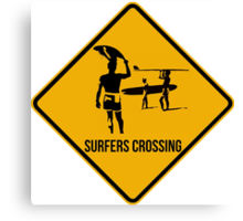 Surfers crossing. The endless summer caution sign. Canvas Print