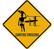 Surfers crossing. The endless summer caution sign. Photographic Print
