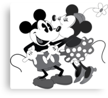 Vintage Mickey And Minnie Mouse  Metal Print
