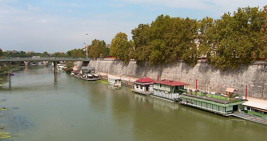 Houseboats on the Tiber by Tom Gomez
