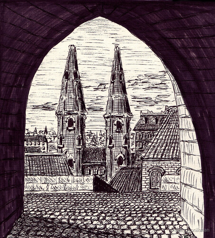 Europe. Black and white pen ink drawing by Vitaliy Gonikman
