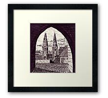 Europe. Black and white pen ink drawing Framed Print