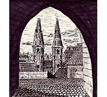 Europe. Black and white pen ink drawing Photographic Print
