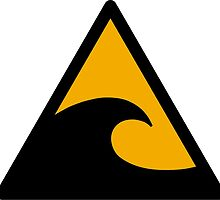 Wave, big waves hazard sign. Caution! Danger! Not surf allowed in this area! by 2monthsoff