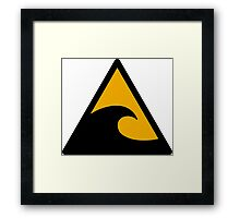 Wave, big waves hazard sign. Caution! Danger! Not surf allowed in this area! Framed Print