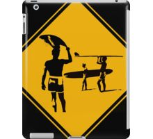 Caution sign. The endless summer surfing design. iPad Case/Skin