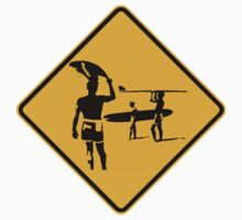 Caution sign. The endless summer surfing design. Kids Tee