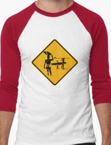 Caution sign. The endless summer surfing design. Men's Baseball ¾ T-Shirt