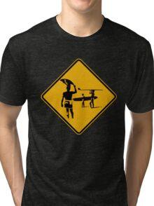 Caution sign. The endless summer surfing design. Tri-blend T-Shirt