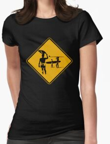 Caution sign. The endless summer surfing design. Womens Fitted T-Shirt