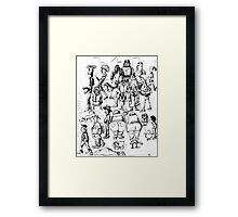 New York City people 1992 pen ink black and white drawing Framed Print