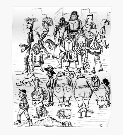New York City people 1992 pen ink black and white drawing Poster