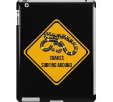 Snakes surfing around. Dropping in caution sign for surfers. iPad Case/Skin