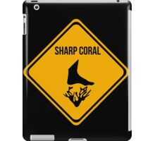 Sharp coral caution sign for surfing, diving, snorkelling. Beach. iPad Case/Skin