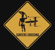 Surfers crossing. The endless summer caution sign. by 2monthsoff