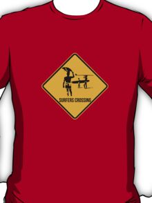 Surfers crossing. The endless summer caution sign. T-Shirt