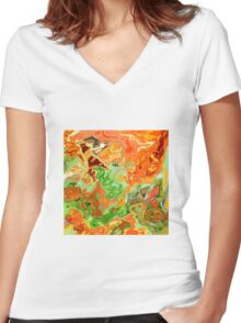 psychedelic ART, hand DRAWN bit by bit digi Women's Fitted V-Neck T-Shirt