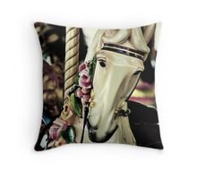 A merry horse called Candy Rose Throw Pillow