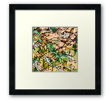MODERN tangled, green and tan ART, hand DRAWN bit by bit digi Framed Print