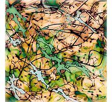 MODERN tangled, green and tan ART, hand DRAWN bit by bit digi Photographic Print