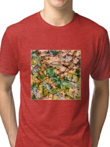 MODERN tangled, green and tan ART, hand DRAWN bit by bit digi Tri-blend T-Shirt