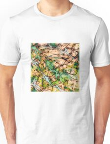 MODERN tangled, green and tan ART, hand DRAWN bit by bit digi Unisex T-Shirt