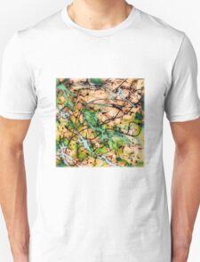 MODERN tangled, green and tan ART, hand DRAWN bit by bit digi T-Shirt