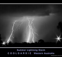 Coolgardie Summer LIghtning Storm BW by Daniel Fitzgerald