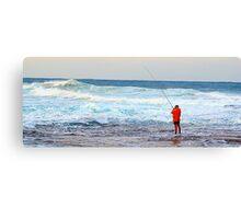 Red On Blue - Rock Fishing Australia Canvas Print
