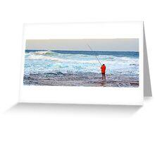 Red On Blue - Rock Fishing Australia Greeting Card