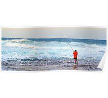 Red On Blue - Rock Fishing Australia Poster