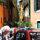 Cats of Rome - Cat on Blue Fiat by Martine Carlsen