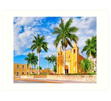 Little Yellow Church in The Barrio Santa Ana - Mérida Mexico Art Print