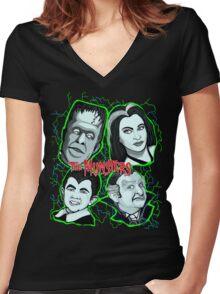 munsters portrait Women's Fitted V-Neck T-Shirt