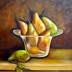 """Medley of Pears in Glass Bowl"" by Susan Dehlinger"
