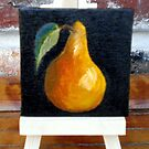 """Miniature Pear with Easel"" by Susan Dehlinger"