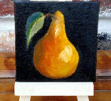 """""""Miniature Pear with Easel"""" by Susan Dehlinger"""