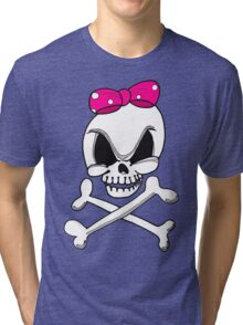 Girls Skull and Crossbones Tri-blend T-Shirt