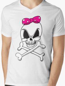 Girls Skull and Crossbones Mens V-Neck T-Shirt