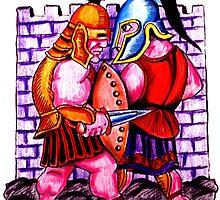 Gladiators. Color pencils drawing by Vitaliy Gonikman