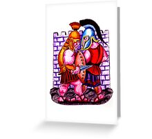 Gladiators. Color pencils drawing Greeting Card