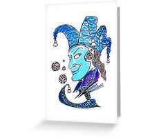 Clown surreal pen ink and pastel drawing Greeting Card