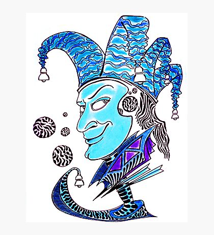 Clown surreal pen ink and pastel drawing Photographic Print