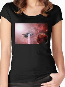 Floating Castle Scene in Space Women's Fitted Scoop T-Shirt