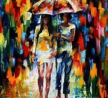 Under The Downpour — Buy Now Link - www.etsy.com/listing/213137889 by Leonid  Afremov