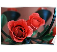 Love Is.....Red Roses And Candles Poster