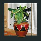Cat and Plant by Martine Carlsen