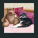 Cat and Teddy Bear by Martine Carlsen