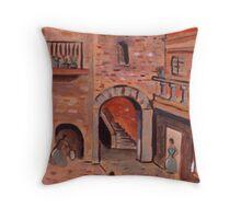 The Spanish Courtyard Throw Pillow