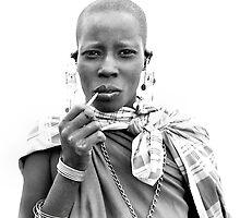 Smoking Masaii woman by Liv Stockley